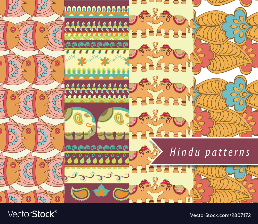Hindu patterns set vector | Price: 1 Credit (USD $1)