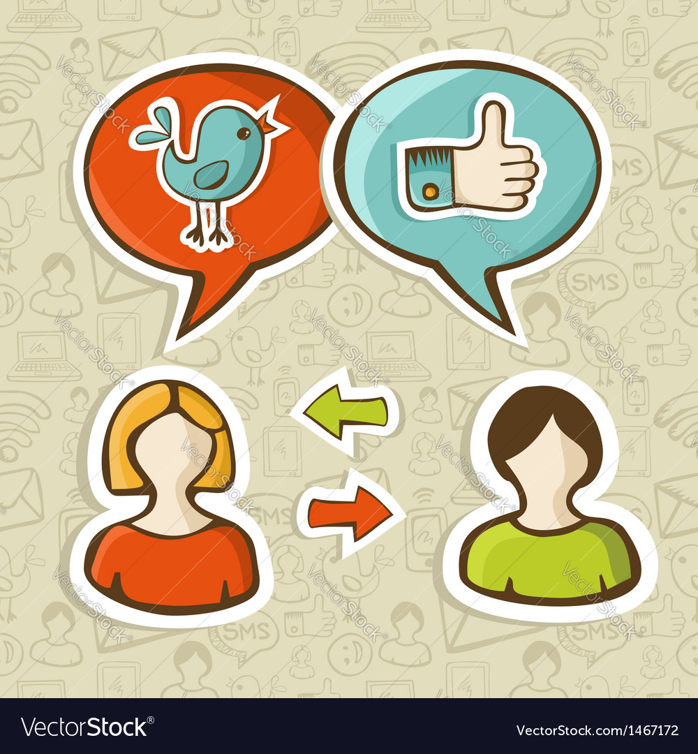 Like and twitter icons connecting people vector | Price: 1 Credit (USD $1)