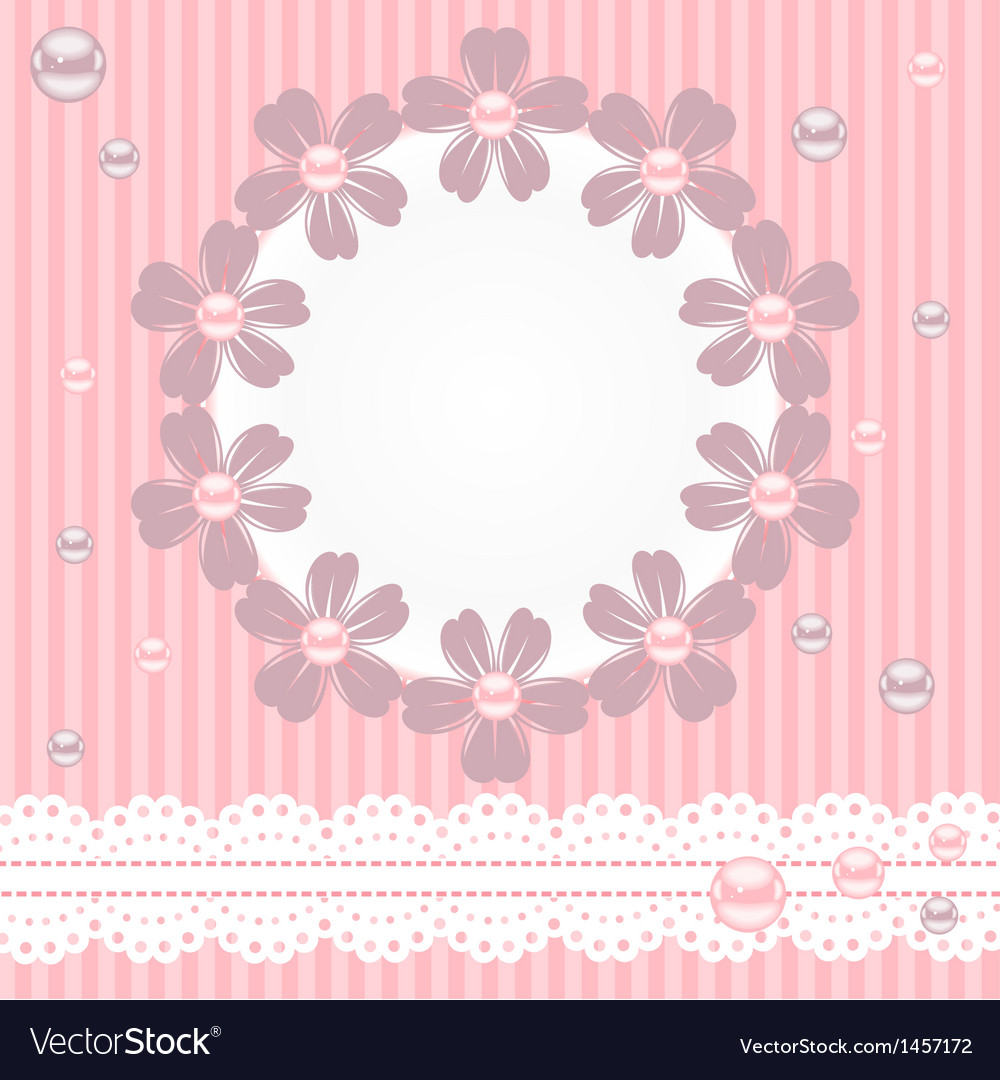Pink card with pearls lace and flowers vector | Price: 1 Credit (USD $1)