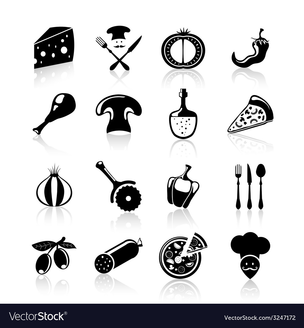 Pizzeria icons set black vector | Price: 1 Credit (USD $1)