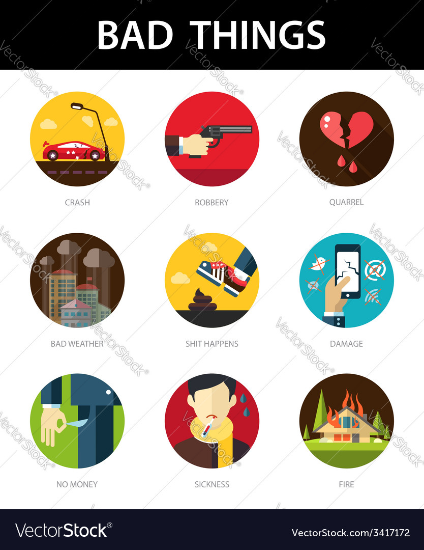 Set of modern flat mens bad things icons for your vector | Price: 1 Credit (USD $1)