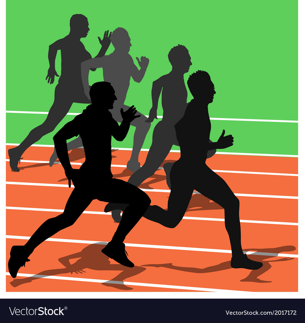 Silhouettes athletes running in the stadium vector | Price: 1 Credit (USD $1)