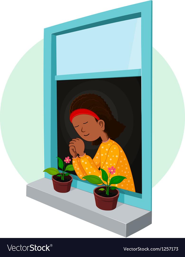 African girl praying vector | Price: 5 Credit (USD $5)