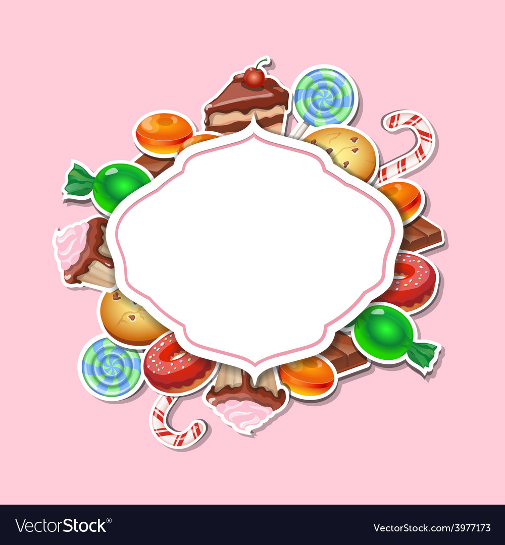 Background with colorful sticker candy sweets vector | Price: 1 Credit (USD $1)