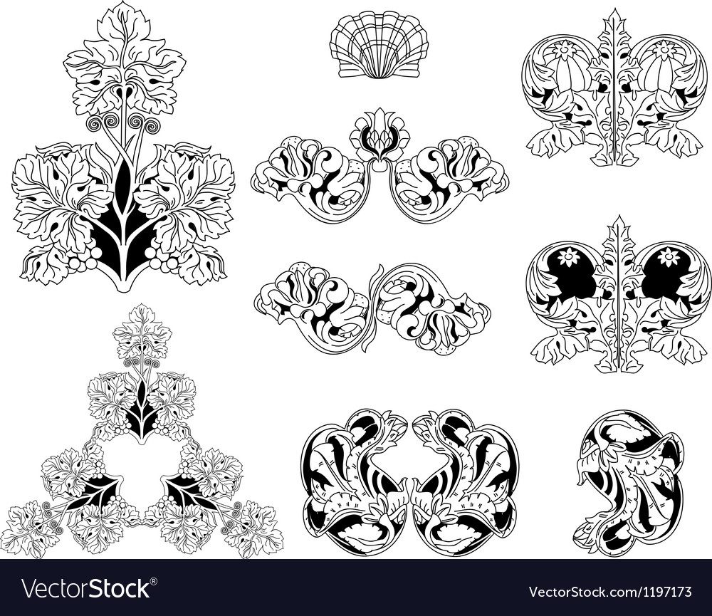 Floral ornament elements lineart vector | Price: 1 Credit (USD $1)