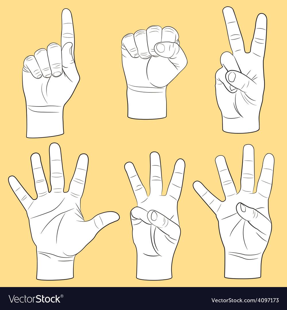 Human hands set vector | Price: 1 Credit (USD $1)