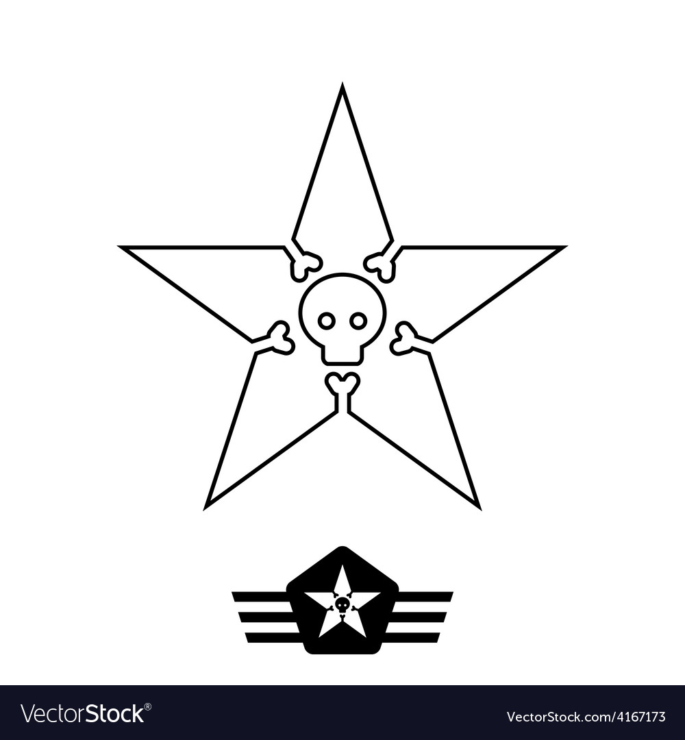 Minimal monochrome vintage star with skull and vector | Price: 1 Credit (USD $1)