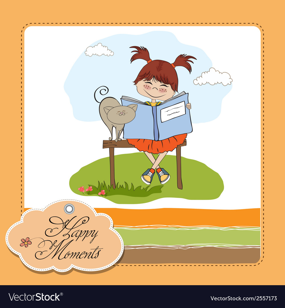 Young sweet girl reading a book vector | Price: 1 Credit (USD $1)