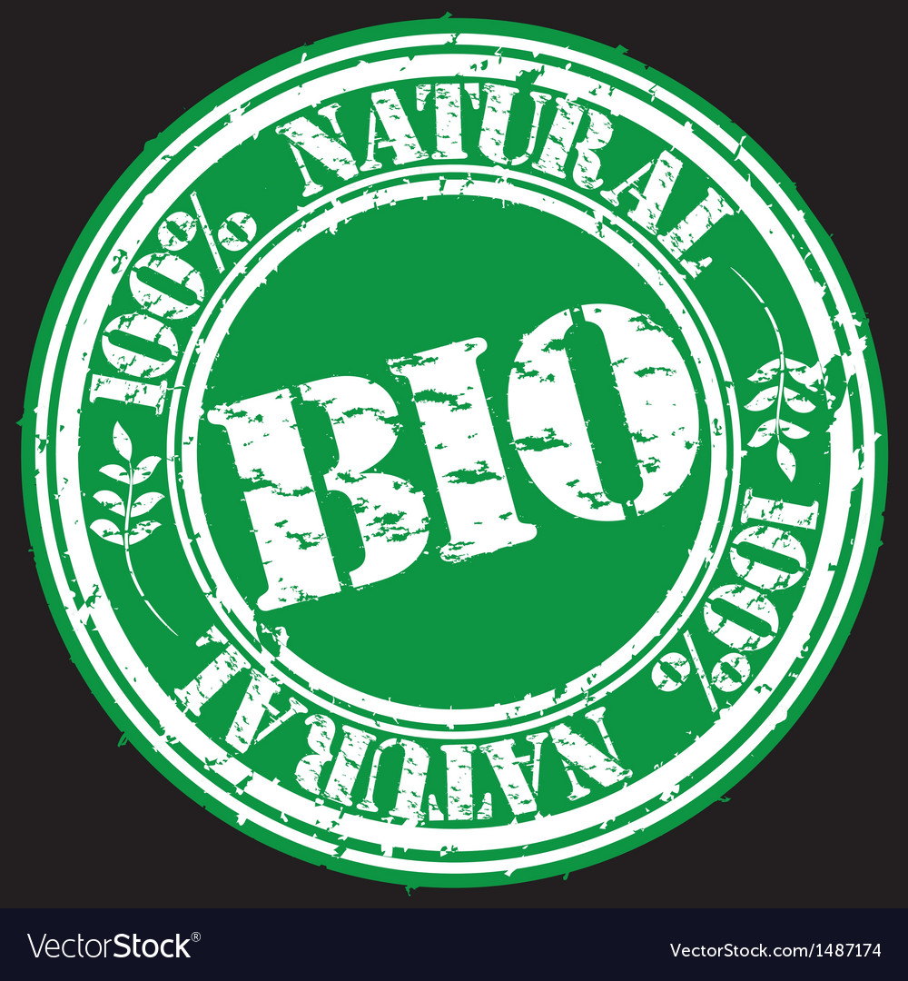 100 percent natural bio grunge stamp vector | Price: 1 Credit (USD $1)