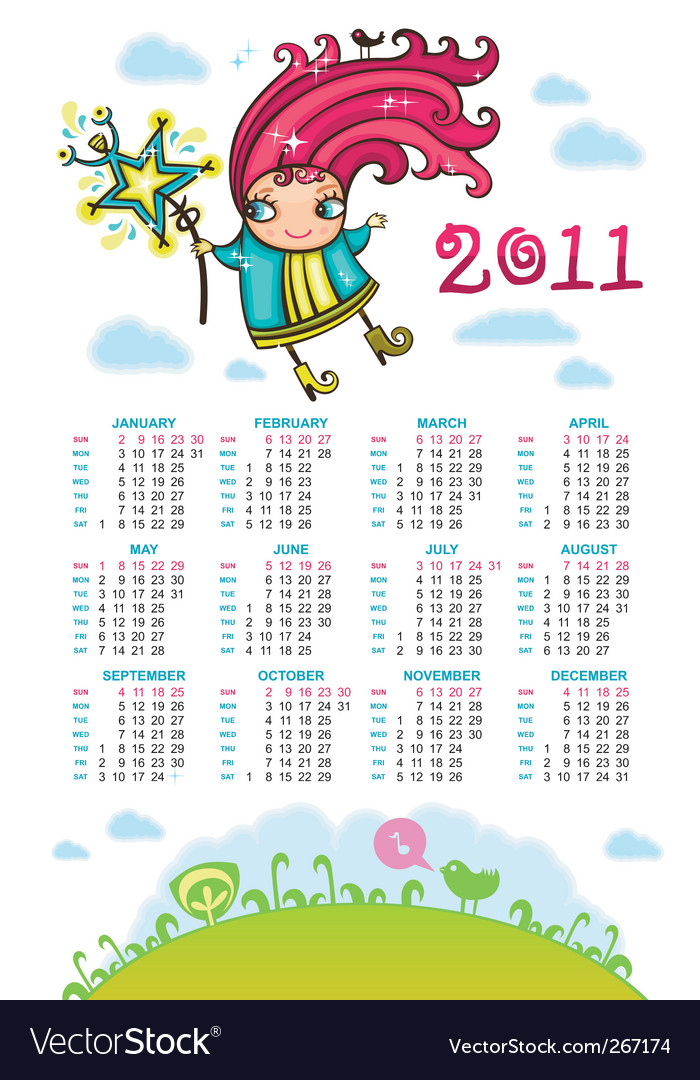 2011 calendar with sweet fairy vector | Price: 1 Credit (USD $1)