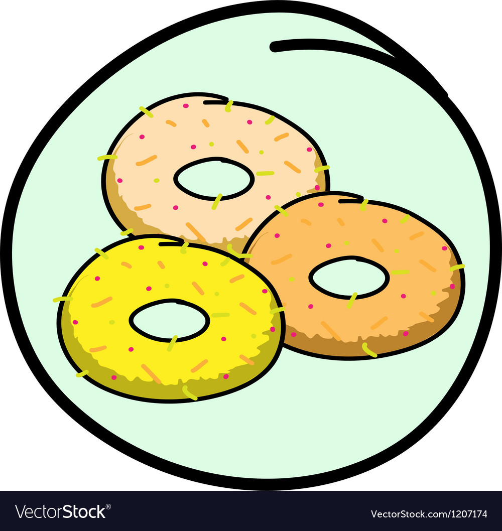 A donut assortment on round green background vector | Price: 1 Credit (USD $1)