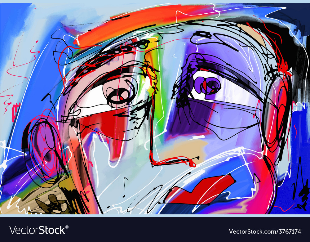 Abstract digital painting of human face vector | Price: 1 Credit (USD $1)