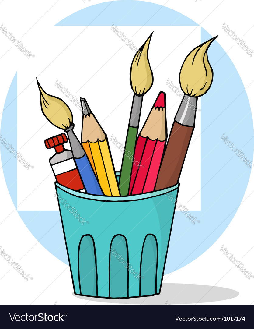 Artist pot with pencils and paintbrushes vector   Price: 1 Credit (USD $1)
