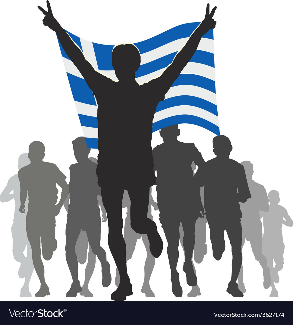 Athlete with the greece flag at the finish vector | Price: 1 Credit (USD $1)