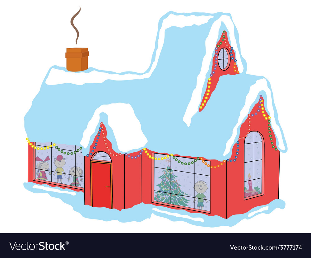 Children in house before christmas vector
