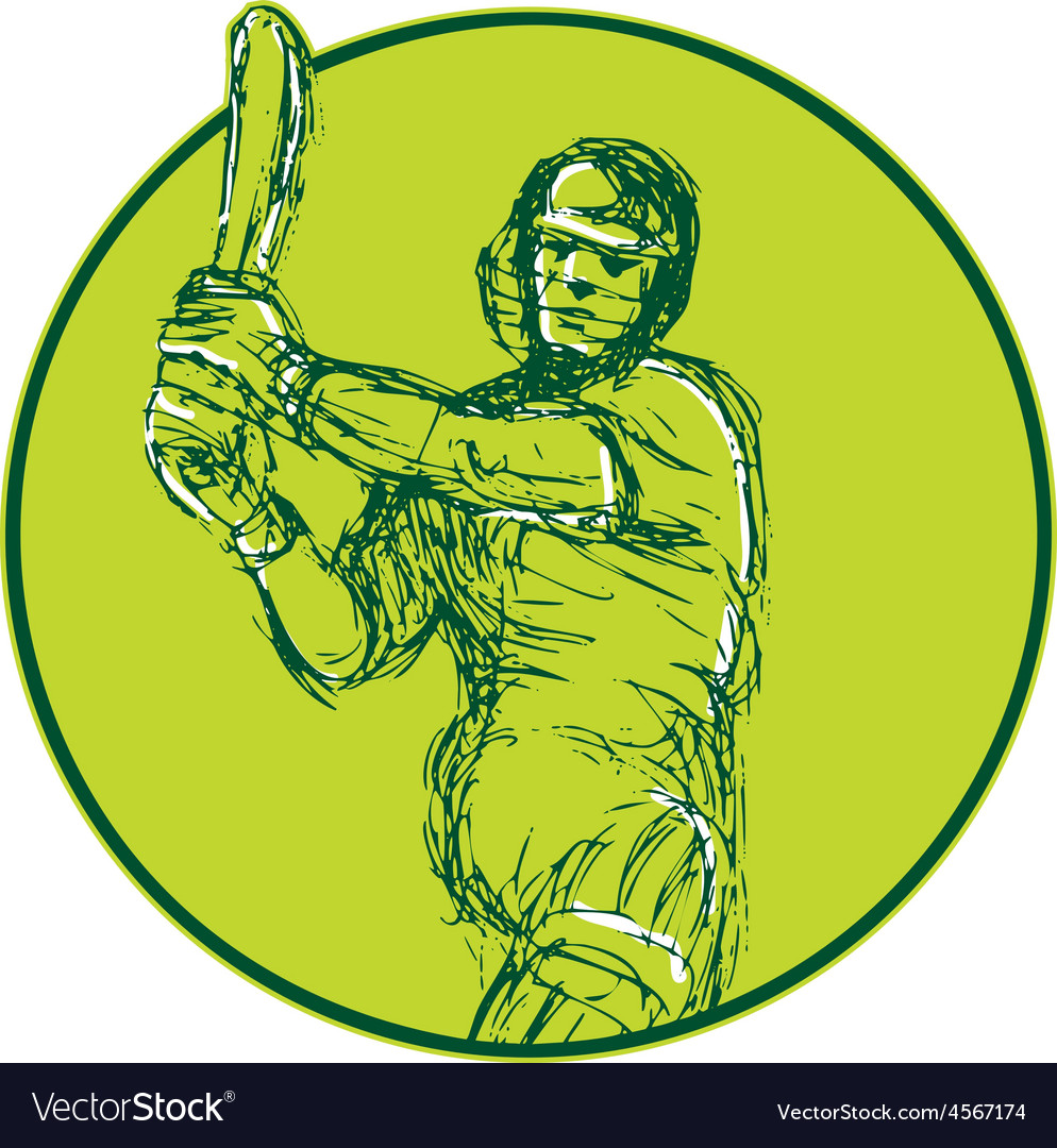 Cricket player batsman batting drawing vector   Price: 1 Credit (USD $1)