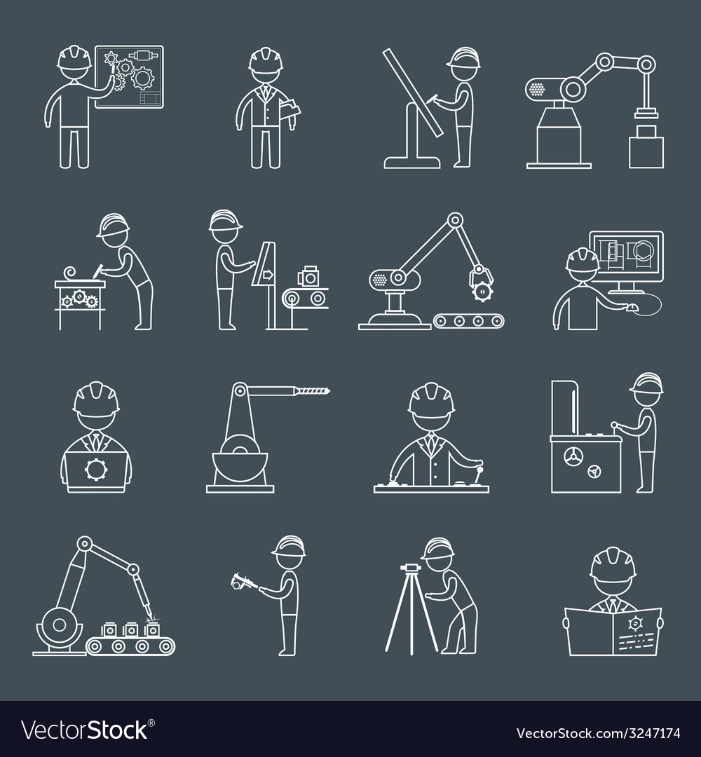 Engineering icons outline vector | Price: 1 Credit (USD $1)