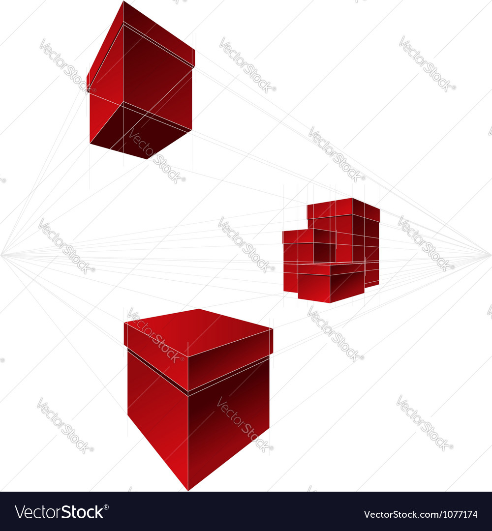 Gift boxes in two-point perspective vector   Price: 1 Credit (USD $1)