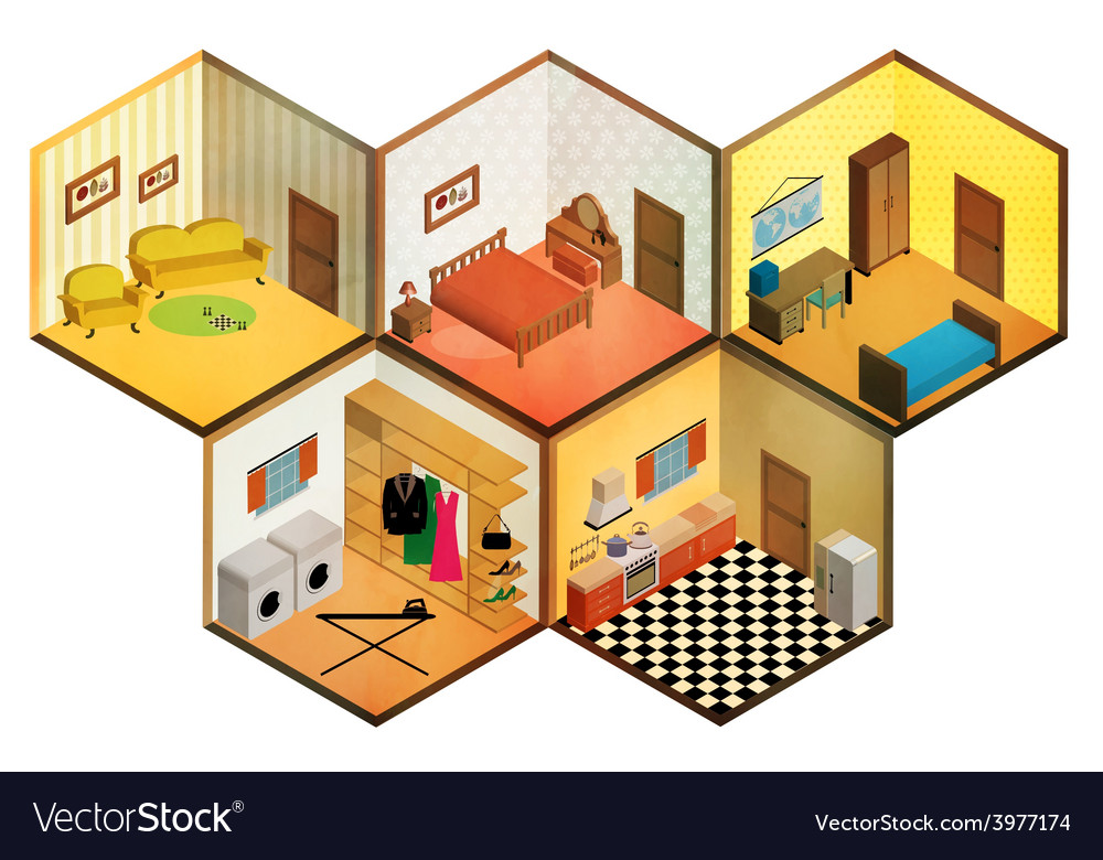Isometric rooms icon vector | Price: 1 Credit (USD $1)