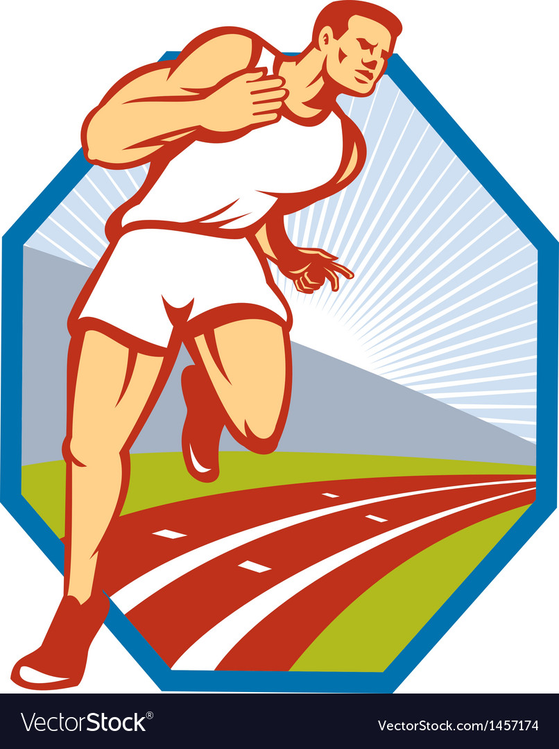 Marathon runner running race track retro vector | Price: 1 Credit (USD $1)