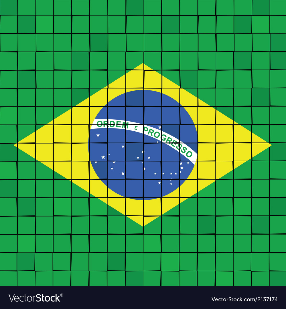 The mosaic flag of brazil vector | Price: 1 Credit (USD $1)