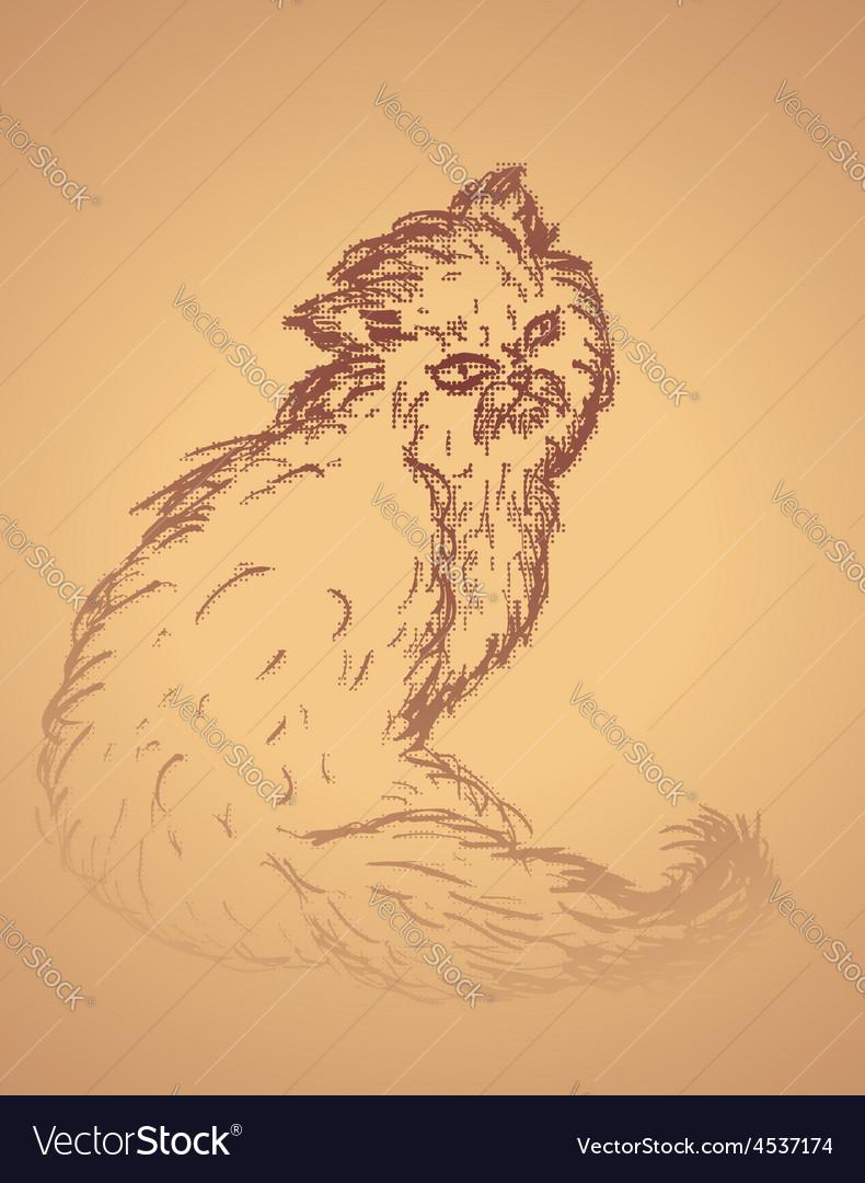 Persian cat sketch2 vector | Price: 1 Credit (USD $1)