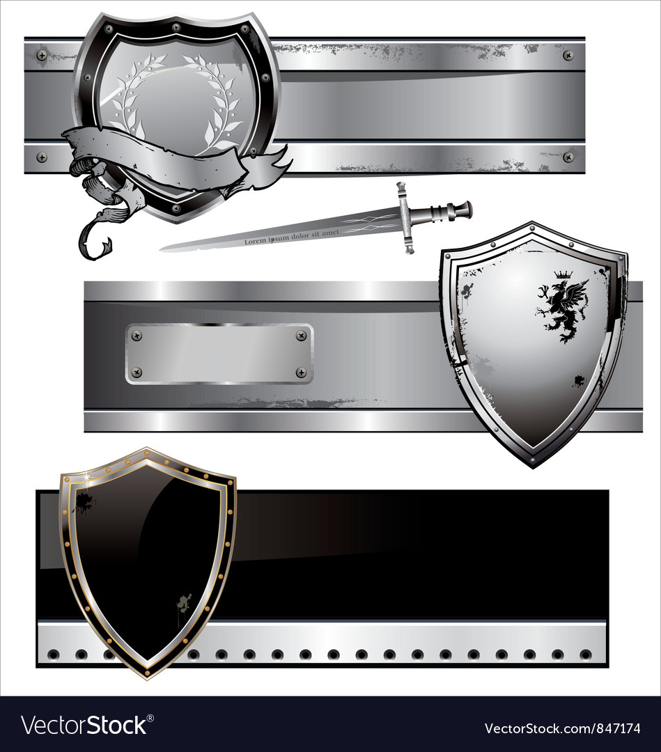 Shield banner set vector | Price: 1 Credit (USD $1)