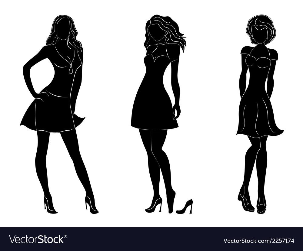 Three beautiful slim women silhouettes vector | Price: 1 Credit (USD $1)