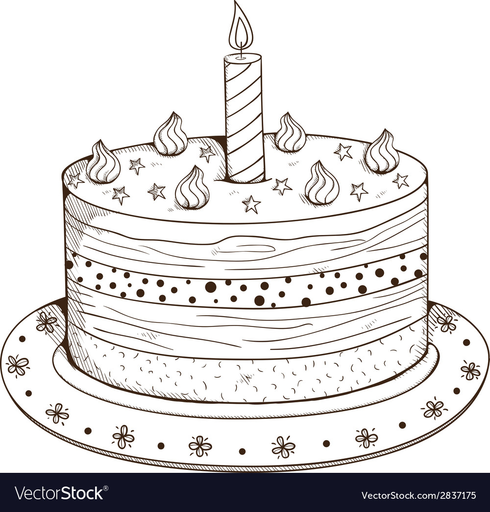Holiday cake with candle vector | Price: 1 Credit (USD $1)