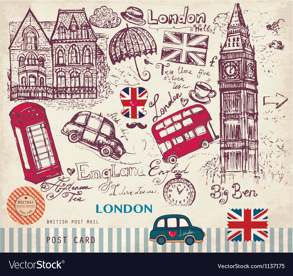 London postcard vector | Price: 1 Credit (USD $1)