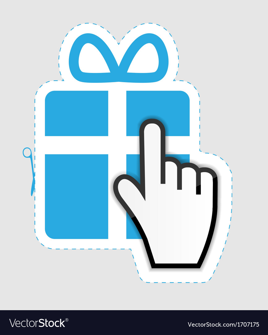 Mouse hand cursor on gift sticker label vector | Price: 1 Credit (USD $1)