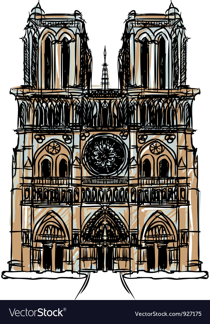 Notre dame cathedral paris vector | Price: 1 Credit (USD $1)