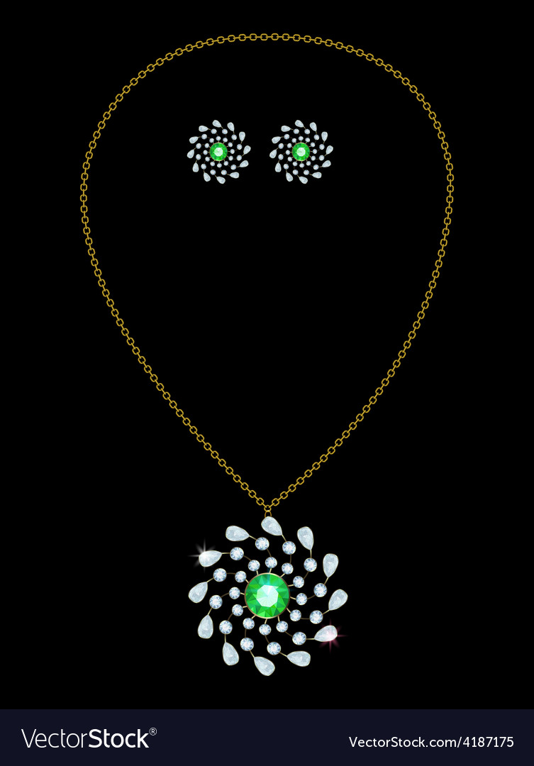 Pendant and earrings vector | Price: 1 Credit (USD $1)