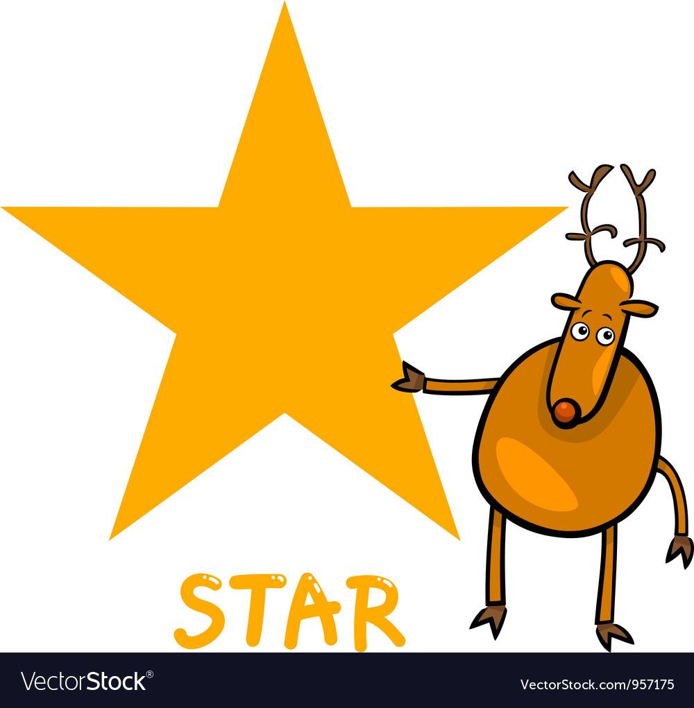 Star shape with cartoon deer vector   Price: 1 Credit (USD $1)