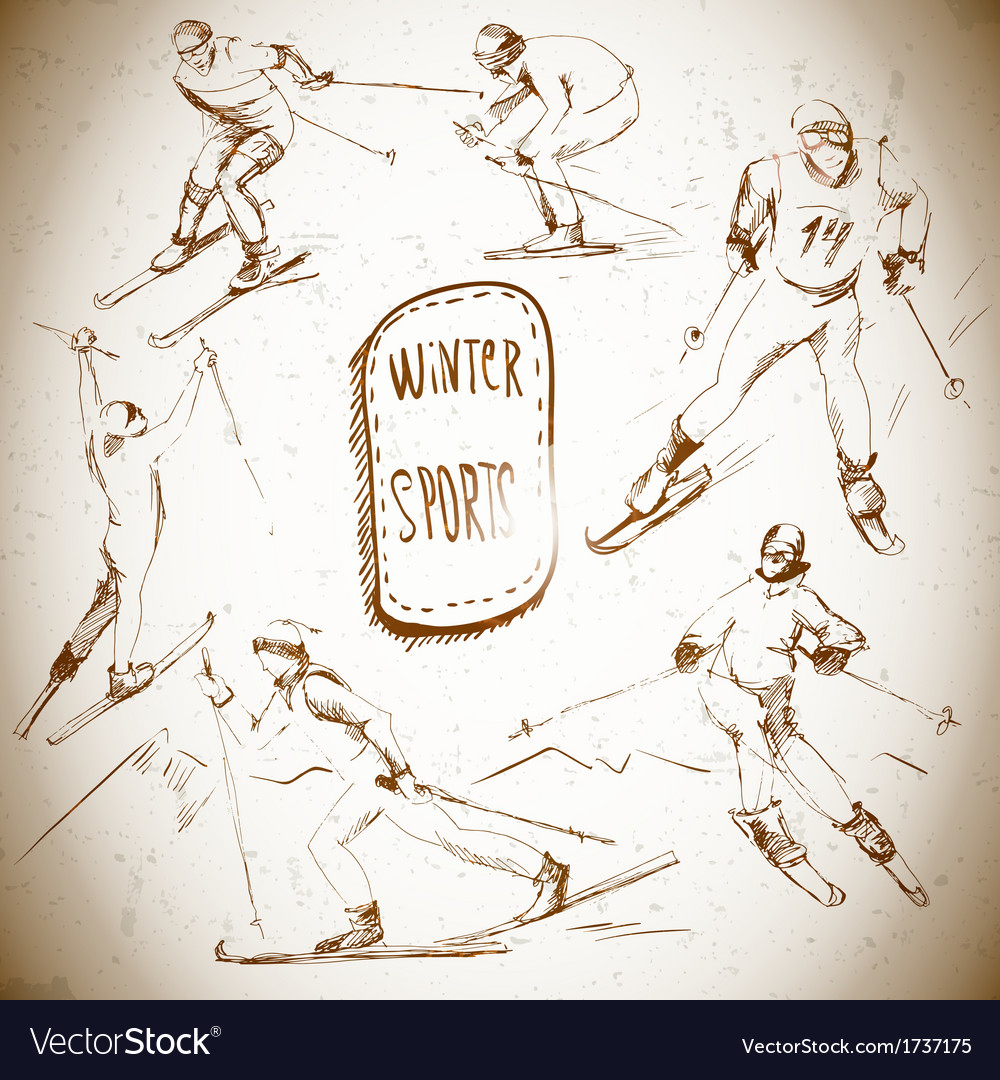 Winter sports skier scetch vector | Price: 1 Credit (USD $1)