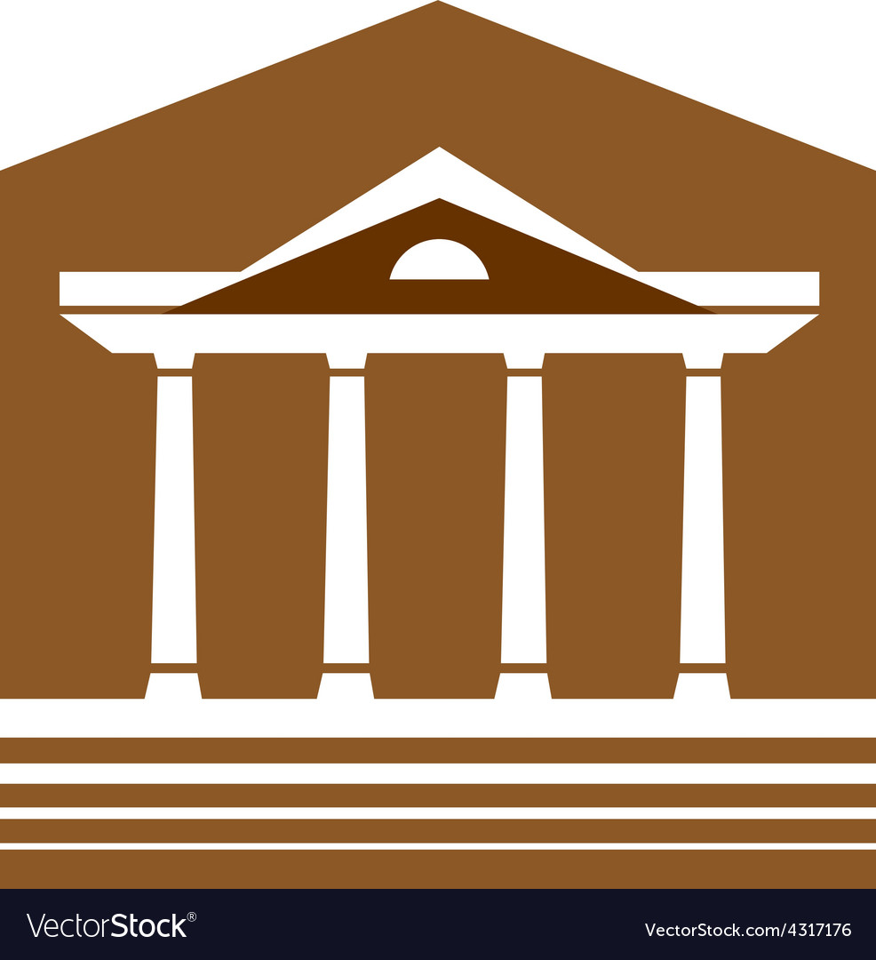 Building with columns logo lawyer real estate sign vector | Price: 1 Credit (USD $1)
