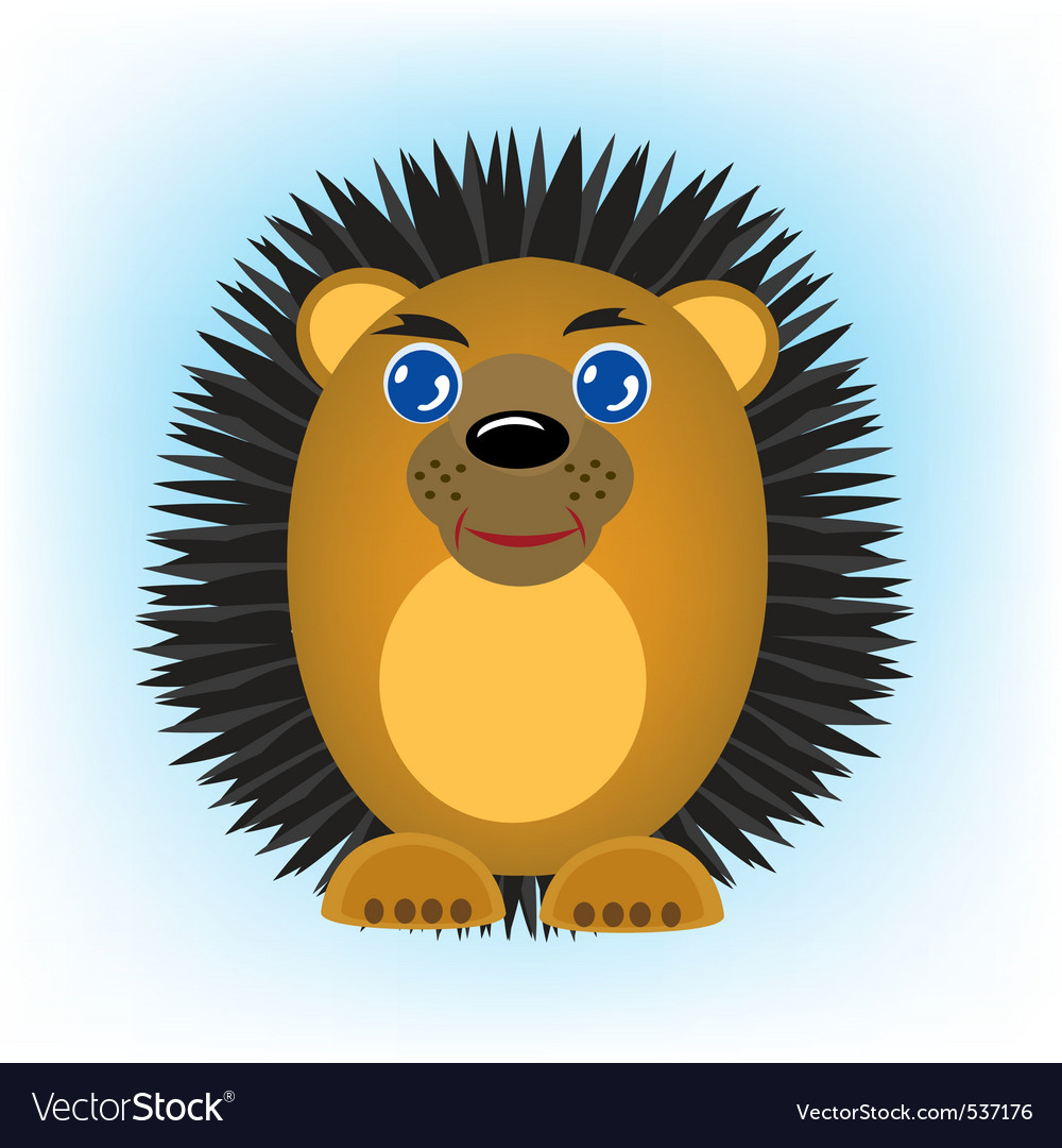 Cartoon animal hedgehog on turn blue background vector | Price: 1 Credit (USD $1)