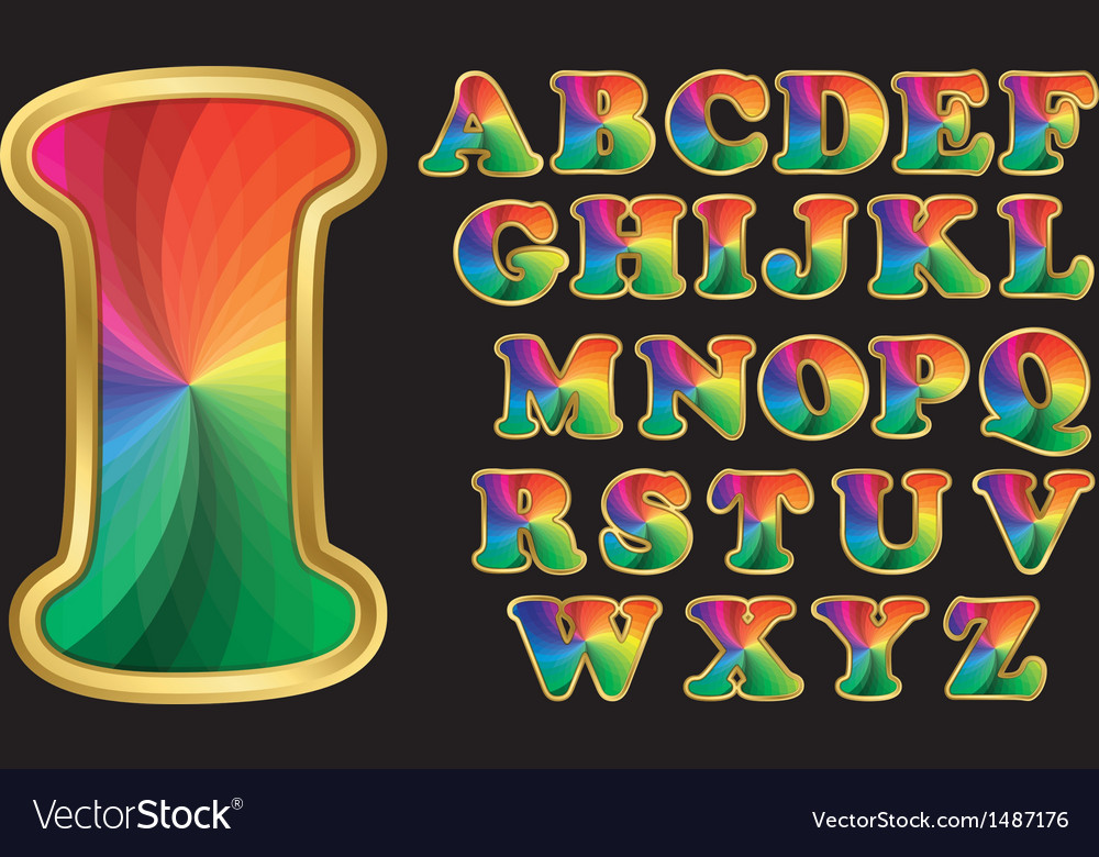 Colorful rainbow alphabet with golden frame lette vector | Price: 3 Credit (USD $3)