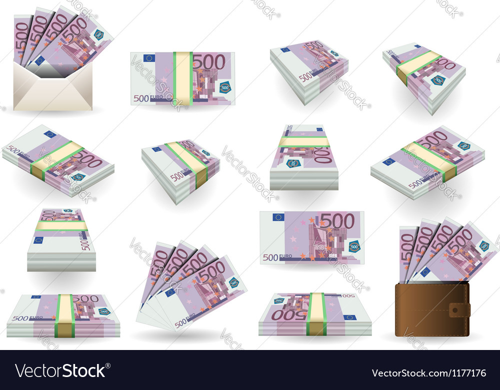 Full set of five hundred euros banknotes vector | Price: 3 Credit (USD $3)