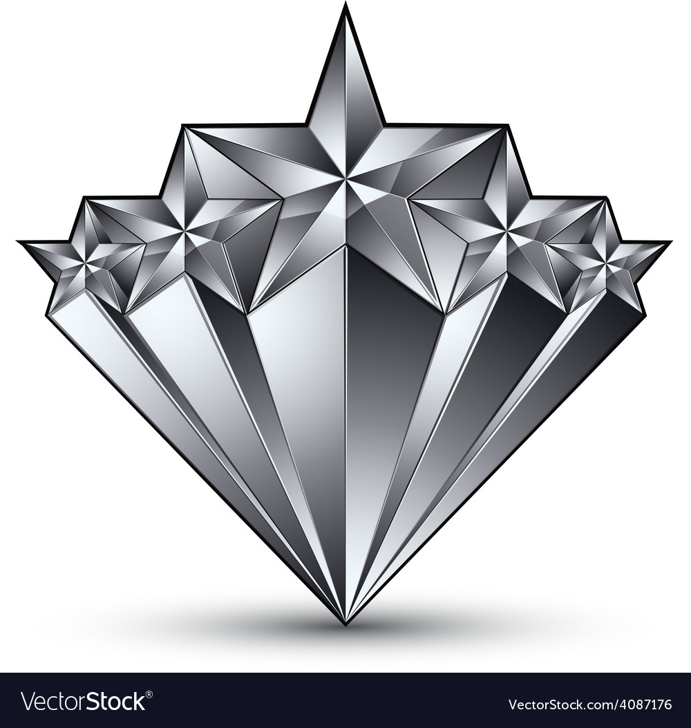 Geometric classic silver element isolated on white vector | Price: 1 Credit (USD $1)