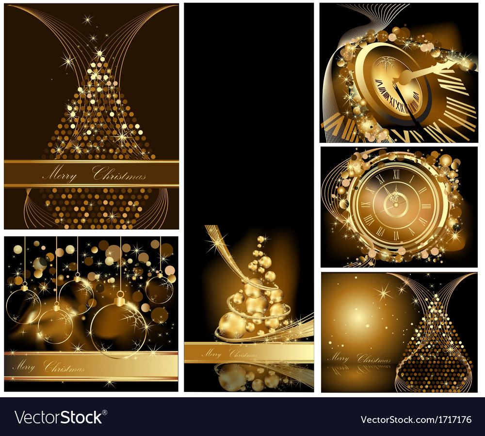 Gold merry christmas background collections vector | Price: 3 Credit (USD $3)