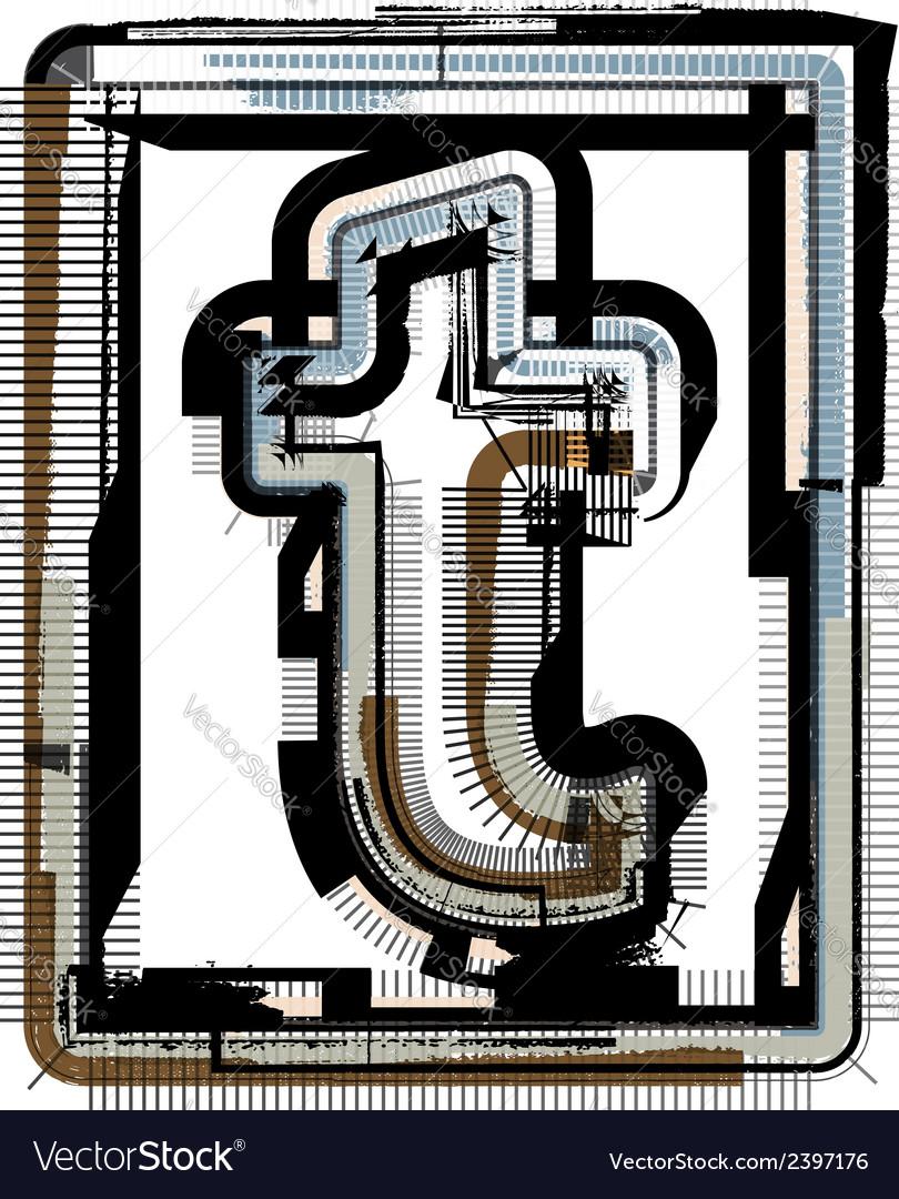 Grunge font letter t vector   Price: 1 Credit (USD $1)