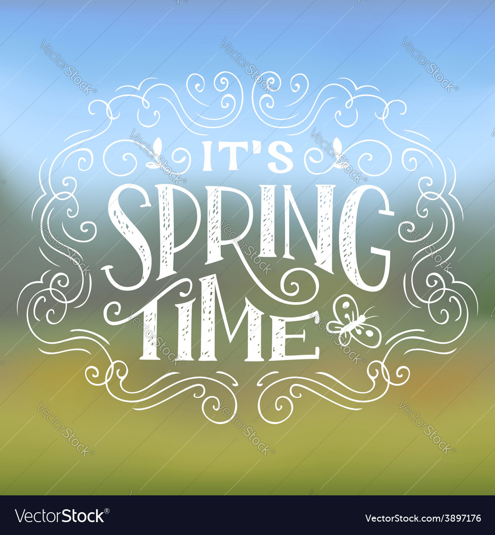 Its spring time typographic design vector | Price: 1 Credit (USD $1)