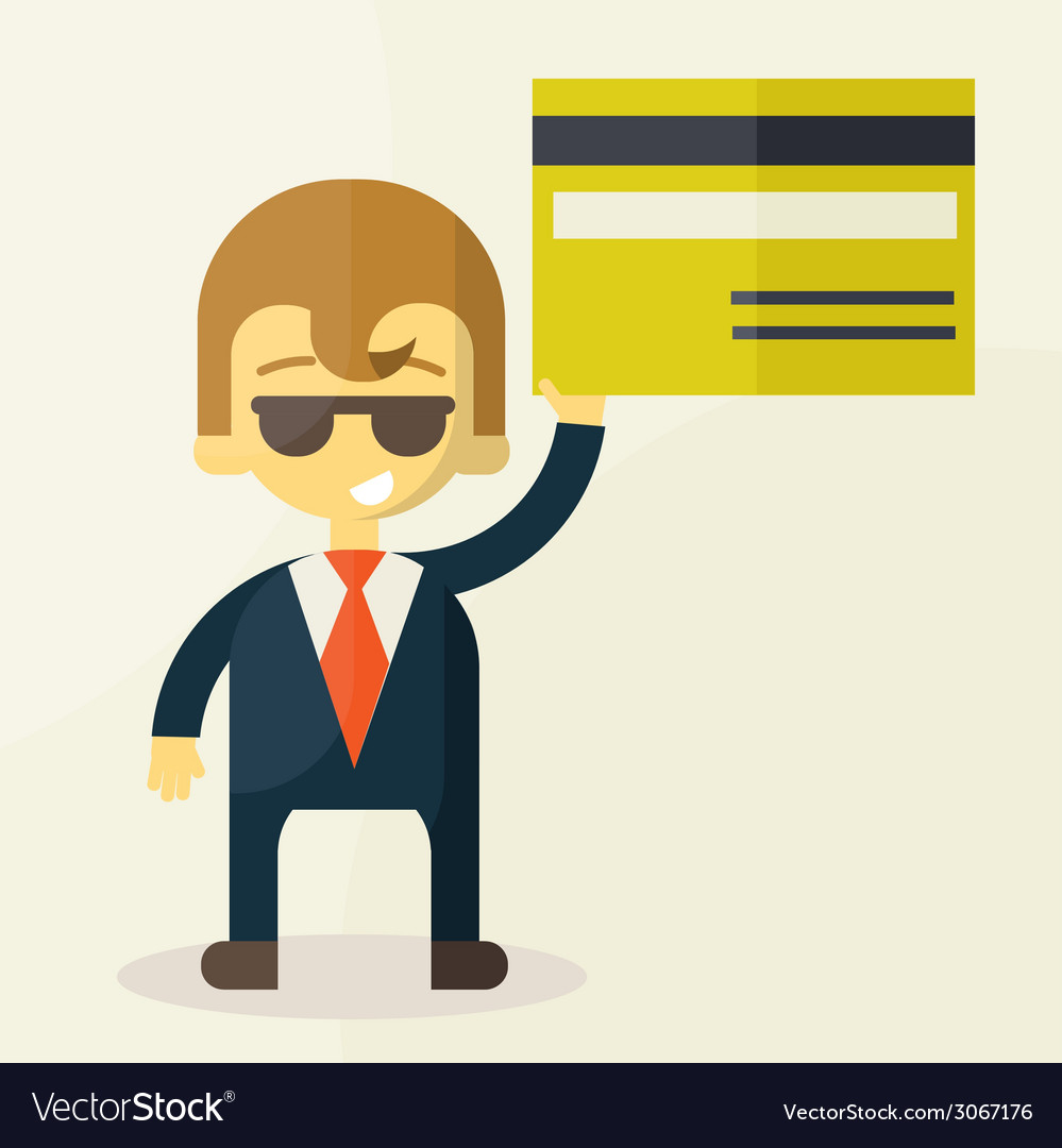 Man showing credit card vector | Price: 1 Credit (USD $1)