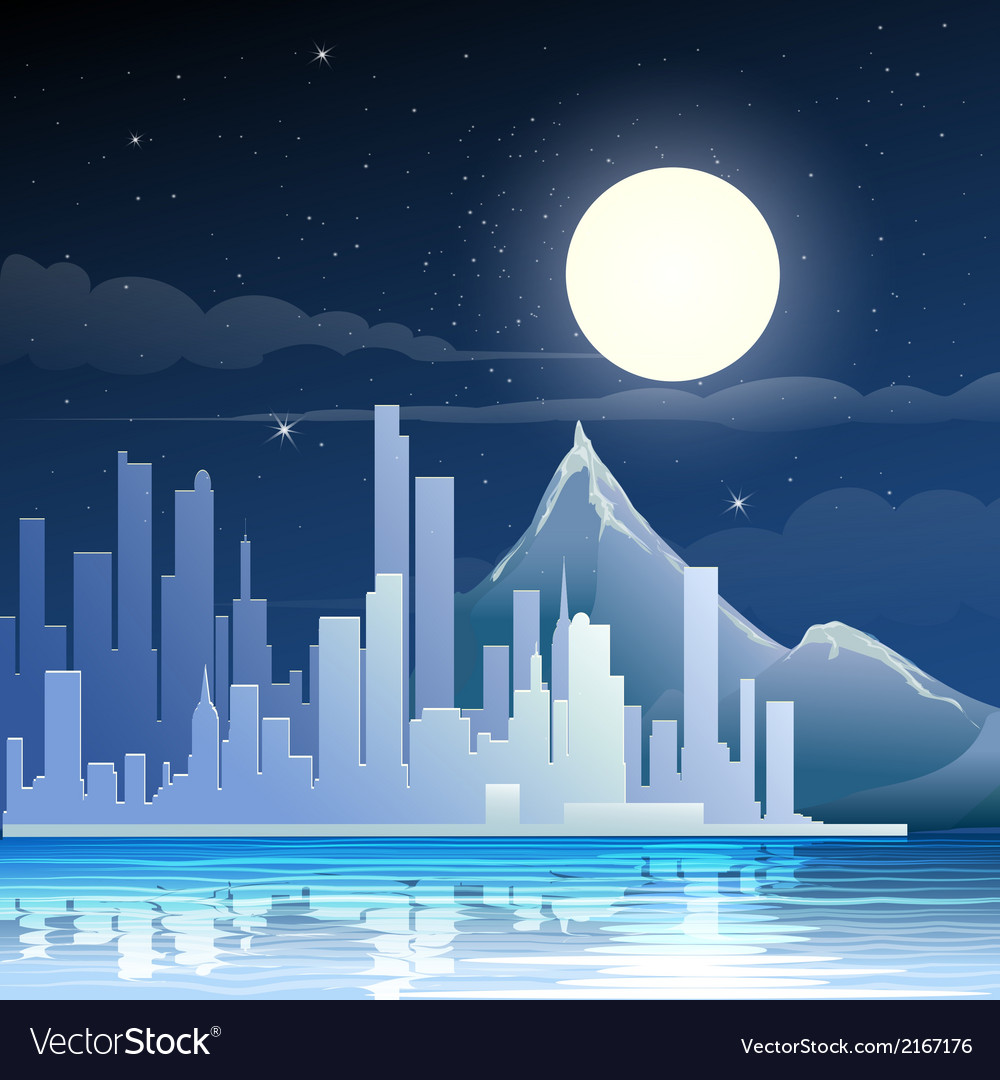 Midnight landscape vector | Price: 1 Credit (USD $1)