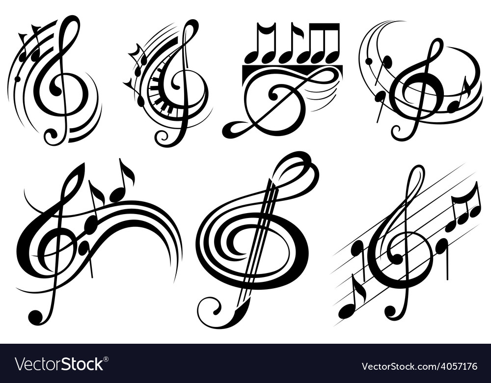 Ornamental music notes vector | Price: 1 Credit (USD $1)