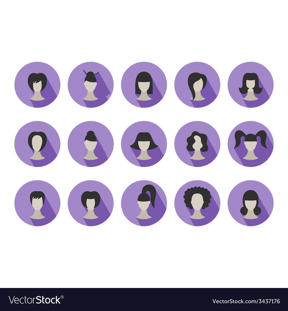 Set of flat icons of hairstyles for woman vector | Price: 1 Credit (USD $1)