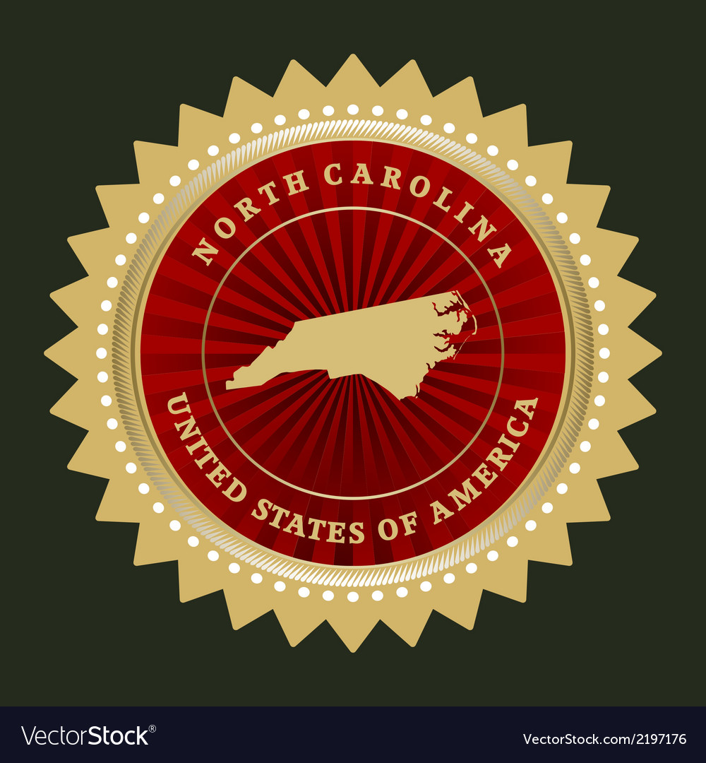 Star label north carolina vector | Price: 1 Credit (USD $1)
