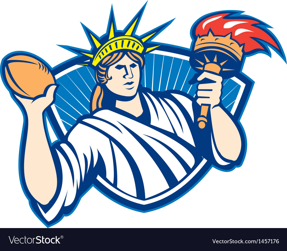 Statue of liberty throwing football ball vector | Price: 1 Credit (USD $1)