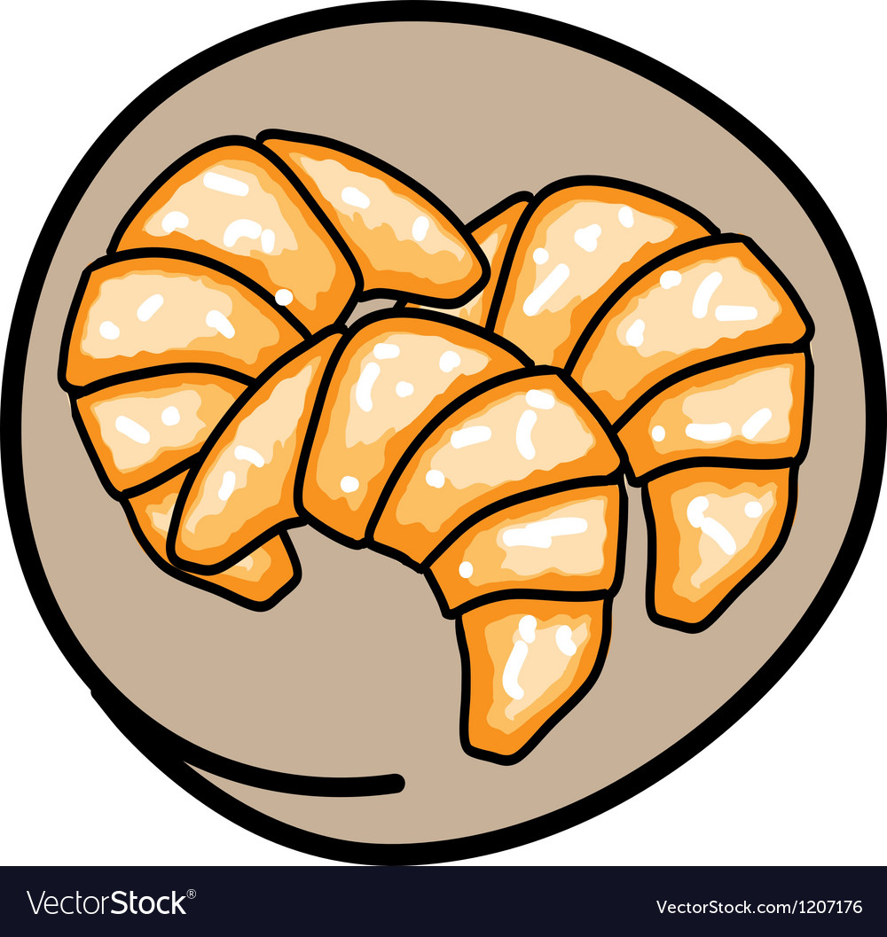 Three fresh croissants on round brown background vector | Price: 1 Credit (USD $1)